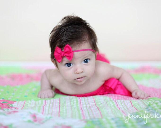 Shocking Pink  Newborn Headband - 2 in. Bitty Bow on an Elastic Headband - Girls Hair Bows - Baby Headband