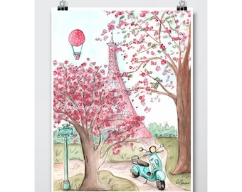 Pink Paris Eiffel Tower Wall Art Decor French Watercolor Nursery Girls Bedroom Decor, Baby Shower Gift, Cherry Blossom Trees Vespa Scooter