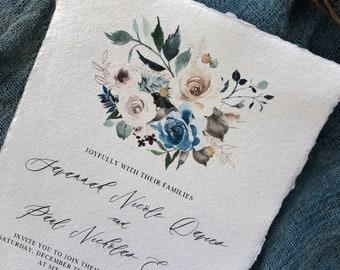 WEDDING INVITATIONS|Set #332 (Organic Wedding Invitations, Earthy Wedding, Elegant, Classic, Deckled Edge Paper)