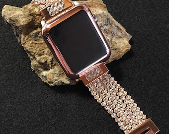 Bling Crystal Diamond Apple Watch Band 38mm 42mm ROSE GOLD Swarovski Crystals Womens Fancy Specialty iWatch 38 42 Silver Cover TimeKitsUSA