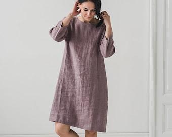 Summer Linen Dress / Summer Tunic Dress / Minimal Linen Dress / Linen Clothing / Linen Sundress / Long Linen Dress / Plus Size Linen Dress