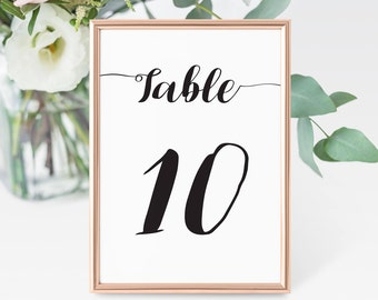 Simple Black & White // Wedding Table Number Cards // Wedding Stationery // Design Code #WTN-001