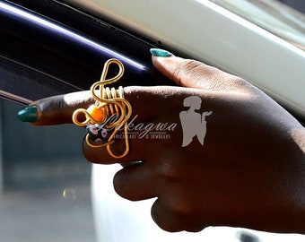 Chunky Afrocentric Brass Ring,Statement African Brass Ring
