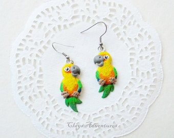 Parrot funny earrings sun conure handmade from polymer clay.