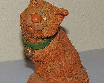 1988 The Critter Factory Orange tabby CAT Figurine made in USA