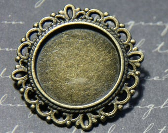 Round pin backing to lace bronze 32mm