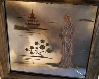Vintage Chinese Asian Etched Mirror Signed Artist Franz Grosz