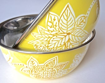 Handpainted Enamelware Bowls-Yellow