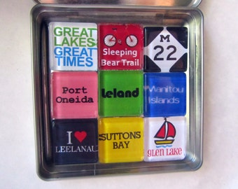 GLEN LAKE Glen Arbor Sleeping Bear Leelanau Leland Suttons Bay M22 Manitou Islands Up North Michigan Magnets Set Northwest Michigan Souvenir