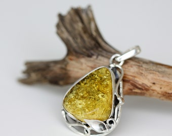 Baltic Amber Pendant - Amber Silver Pendant - Sterling Silver Pendant - Baltic Amber Jewelry - Gift for Women - Gift for Her
