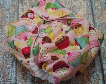 Newborn AI2 Cloth Diaper Organic Cotton Cupcakes Made to Order All in Two PUL