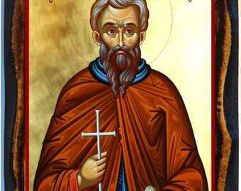 Saint Agisilaos Greek Orthodox Byzantine Christian Icon on Wood