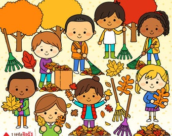 Raking Leaves Fall Clip Art - personal use/limited commercial use