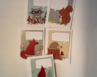 """Woodland Friends """"Fill in the Blank"""" Greeting Cards"""
