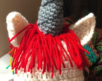 unicorn rainbow hair crochet hat