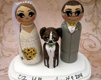 Wedding Cake Topper / Custom Painted Wood Peg Dolls/ Personalized Plaque / Couple Plus 1 small peg (perfect for children or pets) and Plaque