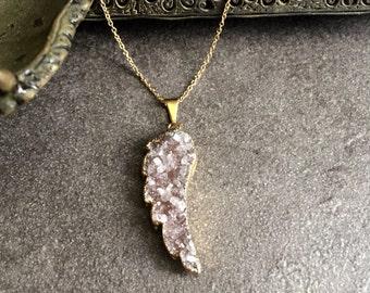 14k Gold Necklace,Amethyst Necklace Gold,Gold Druzy Necklace,Druzy Necklace Gold,Druzy Angel Wing,Drusy Necklace,Purple Druzy,Druzy Jewelry