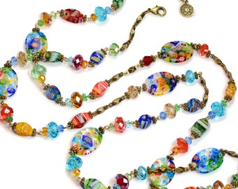 Millefiori Necklace, Long Beaded Necklace, Layering Necklace, Candy Glass, Rainbow Necklace, Colorful Necklace, Boho Festival Jewelry N475