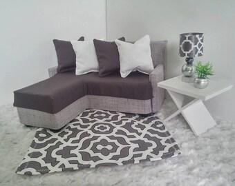 Furniture - Sofa for Fashion Dolls Like Barbie / Fashion Royalty/ Monster High  - Gray Sectional Sofa
