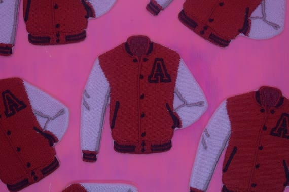 Red and White Baseball Jacket Iron on Patch