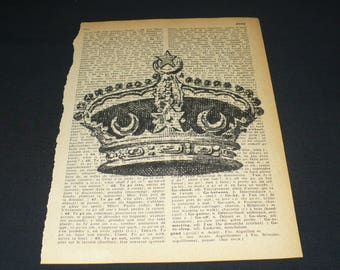 Crown Dictionary Art Print Home Decor Wall Art Book Page Art Royalty Monarchy King Queen