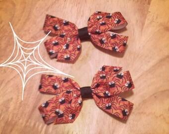 Orange Spider Bows Set of 2