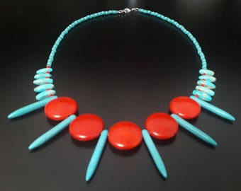 Reconstituted Turquoise Spike Statement Necklace