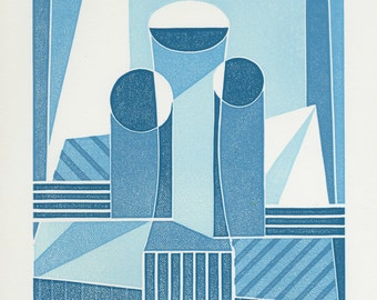 Three Vases - Ltd Edition Linocut