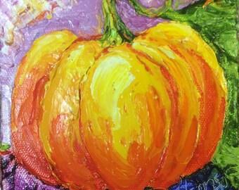 Pumpkin 5x5 Inch Original Impasto Oil Painting by Paris Wyatt Llanso