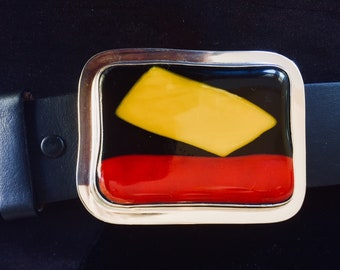 Beltbuckle in Fused Glass and Sterling Silver