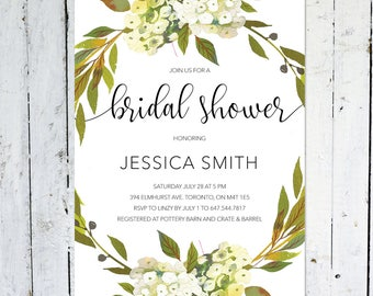 Bridal Shower Invitation, Wreath, Greenery, Modern, Floral, Flowers, White, Green, Printable, Printed, Spring, Summer
