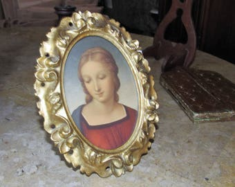 Beautiful Vintage Wood Frame, Florentine Gold Leaf Wood Frame, Madonna Picture in Easel Back Frame, Home and Living, Home Decor, Italian