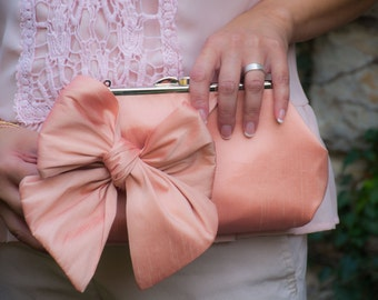 Bridesmaid bow clutch, peach Clutch | Bow Clutch | Bridesmaid Clutch [Classic Bow Clutch: