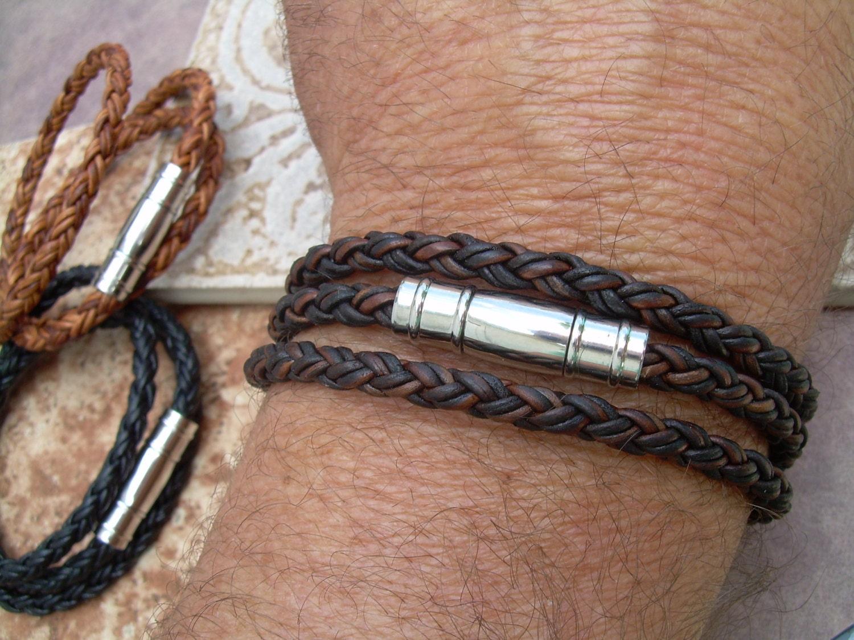 Mens Triple Wrap Braided Leather Bracelet Stainless Steel