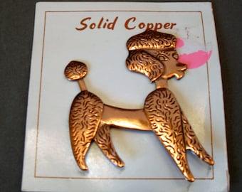 Retro Copper Poodle Pin Brooch
