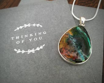 Picasso Jasper artist's pallet necklace Sterling silver. One of a kind. Fantastic piece for the artist in your life!