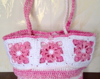 Breast Cancer Purse, Ladies Pink & White Handmade Purse, Breast Cancer Purse, Valentine Pink Purse, Pink Summer Purse, Pink Spring Purse