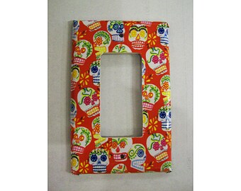 Sugar skull rocker switch plate retro Day of the Dead dimmer light switch cover vintage Mexico kitsch