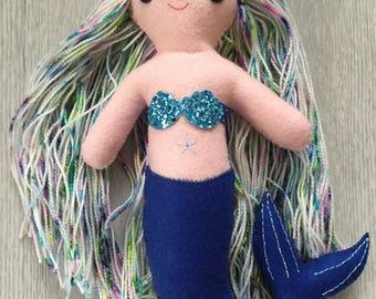 Mermaid doll; Felt Doll; Collectible Doll; Children's decor