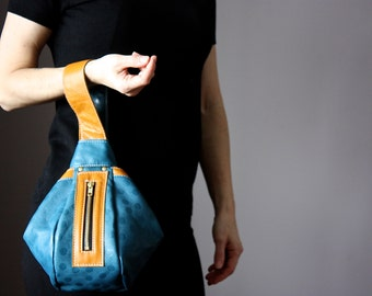 My way Japanese knot wristlet , leather clutch, casual style clutch, knot style bag , everyday women accessories