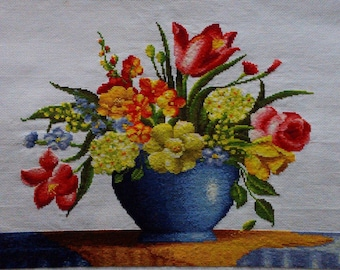 New Finished Completed Cross Stitch - Vase - 91126