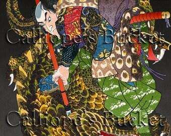 Miyamoto Musashi - From the series, 800 heroes of the Suikoden (本朝水滸傳豪傑八百人一個 宮本無三四) (宮本武蔵), Ukiyo-e woodblock print.
