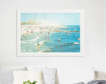 "Large Beach Photography // Oversize Art // Coney Island Beach Photography // Navy Blue Light Blue Wall Art // Large Beach Print ""Peeps Dips"""