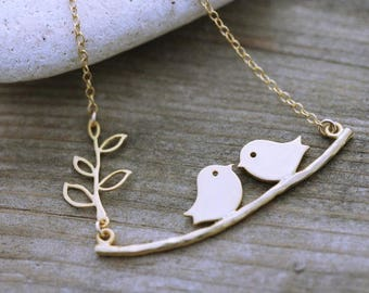 Gold Bird Necklace . Or SilverLove Birds necklace . Anniversary . Couple Personalized Jewelry . Original design By MonyArt