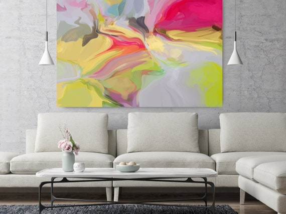 """Light Secrets, Art Abstract Print on Canvas up to 50"""", Green Red Abstract Canvas Art Print, Sunny City by Irena Orlov"""