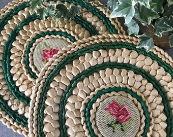Vintage Floral Placemats or Floral and Rattan Wall Hanging