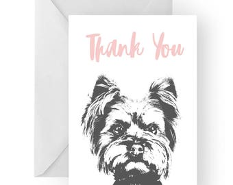 Yorkshire Terrier thank you card- Yorkshire Terrier greeting card, Yorkshire Terrier thank you card, Yorkshire Terrier gift, Yorkie gift