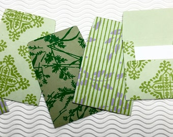 6 teeny tiny envelopes green handmade papers miniature note sets square stationery party favors weddings guest book table numbers