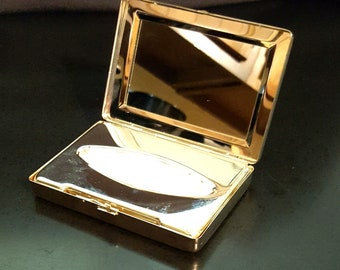 Rare vintage sterling silver plate personal kleenex tissue compact case with mirror handbag vanity collectible accessory