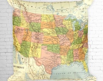 Pillow Map United States Reproduction of a Vintage Map